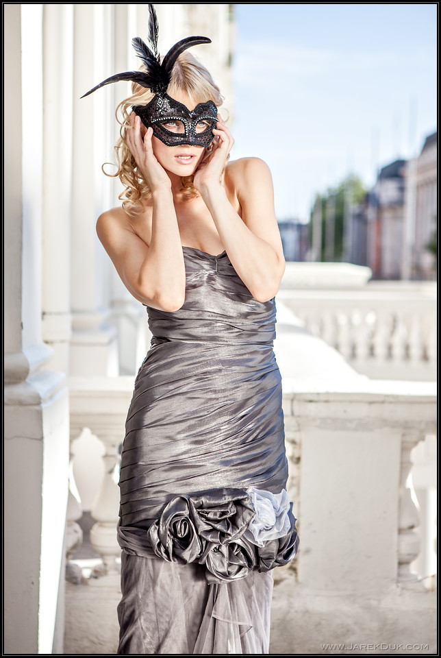 Fashion Photography London. Lady in black mask.