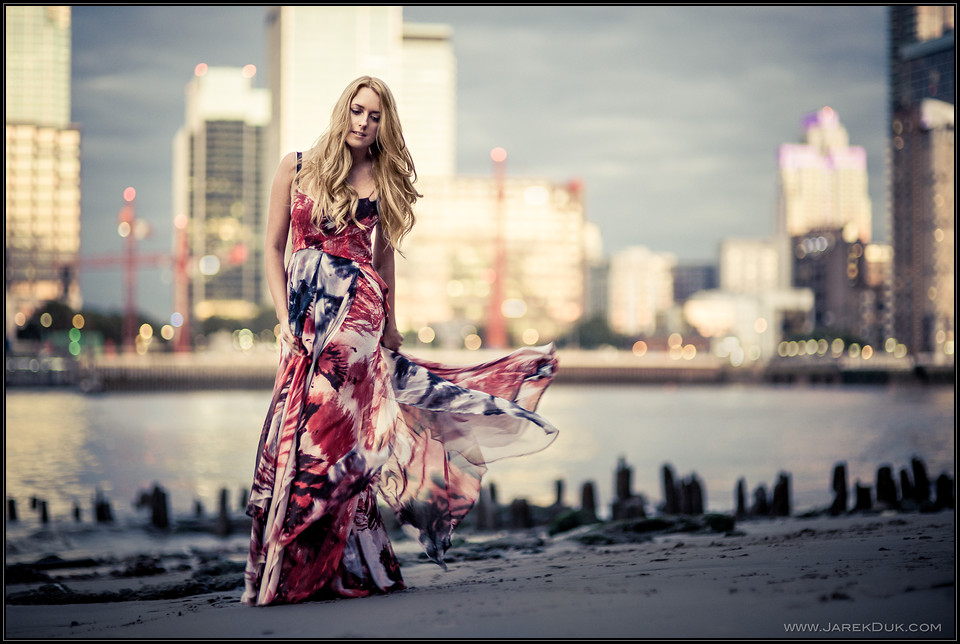 Fashion photography London. Beautiful romantic dress, stunning beach location at sunset.