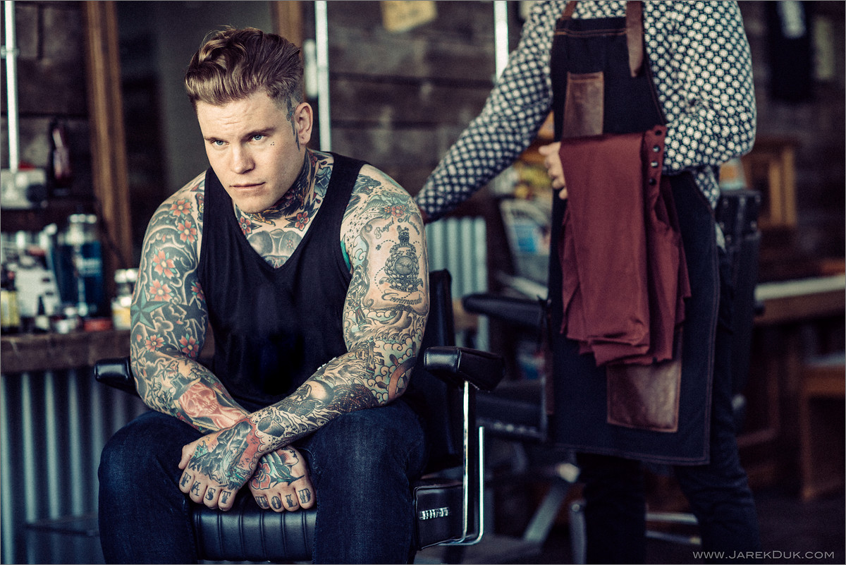 Portrait photography by Jarek Duk. Beards and tattoos. Full of character, sophisticated portrait.