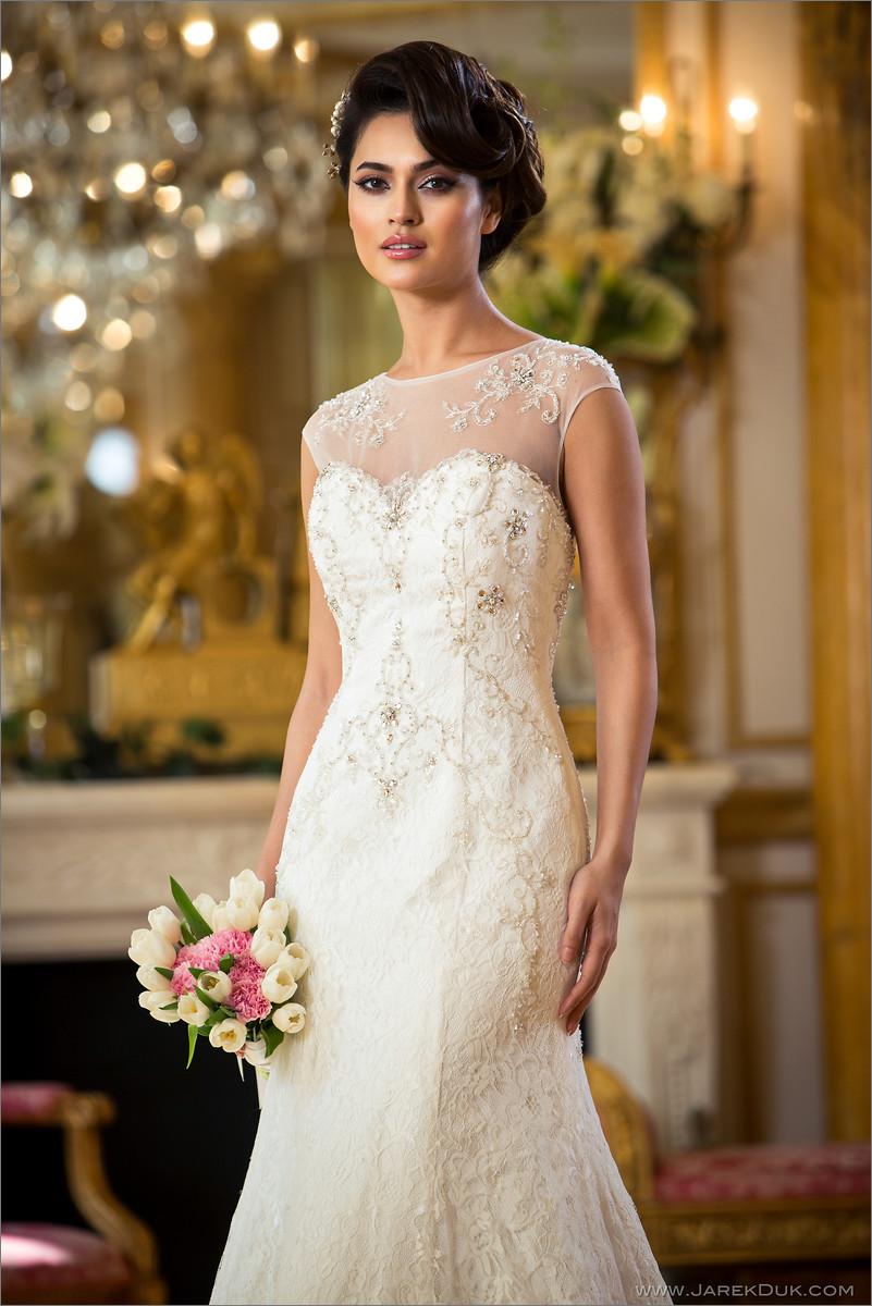 Bridal fashion photography London. Beautiful bride in a white, romantic, lacy wedding dress.